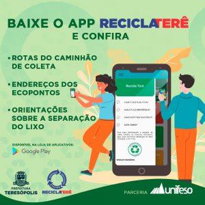 Novo aplicativo Recicla Terê informa a população sobre pontos de coleta de recicláveis e rota dos caminhões