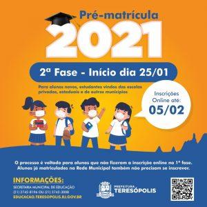 2ª Fase da Pré-matrícula 2021 nas escolas municipais de Teresópolis começa no próximo dia 25