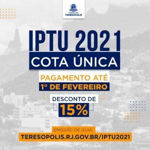Desconto de 15% no IPTU 2021 em Teresópolis patg até 01 fevereiro