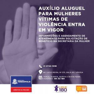 Auxílio aluguel para mulheres vítimas de violência em Teresópolis