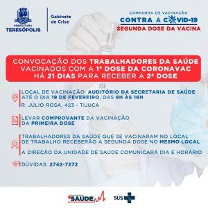 vacinação 2ª dose da vacina contra a Covid-19 em Teresópolis