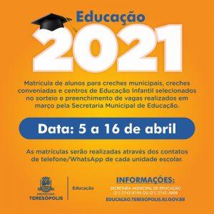 Matrícula para creches municipais é remarcada para o dia 5 de abril