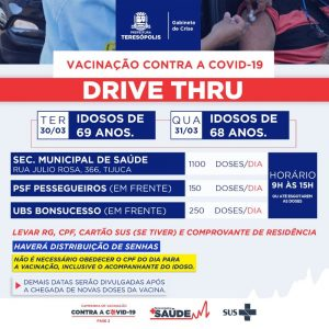 COVID-19: Teresópolis vacina idosos de 69 e de 68 anos nestas terça (30) e quarta (31)