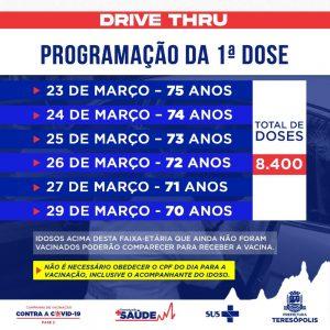 Calendário semanal de vacinação contra a COVID-19 em Teresópolis