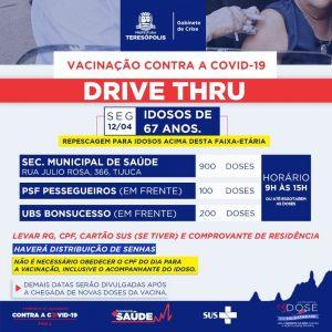 Teresópolis recebe mais vacinas para idosos de 67 anos