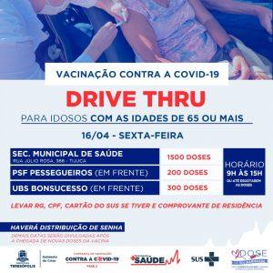 Teresópolis vacina idosos de 65 na sexta-feira (16), em sistema drive-thru