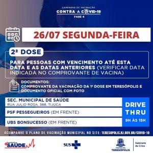 Aplicação em Teresópolis da 2ª dose da vacina contra a Covid-19 dia 26-07