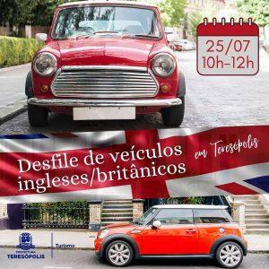 Desfile de veículos ingleses, britânicos em Teresópolis