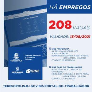 Programa 'Emprega Terê' divulga 208 vagas de emprego no Sine Teresópolis