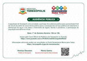 'Saneamento Básico para Todos' Audiência pública virtual dia 1º outubro