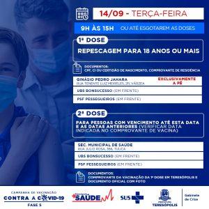 Teresópolis faz repescagem da 1ª dosepara população acima de 18 anos nesta terça-feira (14)