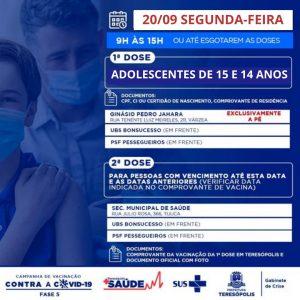 Teresópolis aplicará primeira dose em adolescentes com 15 e 14 anos, na segunda-feira (20)