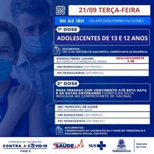 Teresópolis aplicará primeira dose em adolescentes com 13 e 12 anos,  na terça-feira (21)