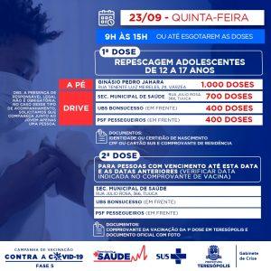 Teresópolis fará repescagem da 1ª dose para o público de 17 a 12 anos nesta quinta-feira, 23/09