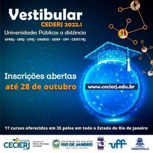 Vestibular Cederj 2022.1 - Inscrições seguem até o próximo dia 28