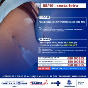 Teresópolis aplica dose de reforço em idosos acima de 71 anos, na sexta 08